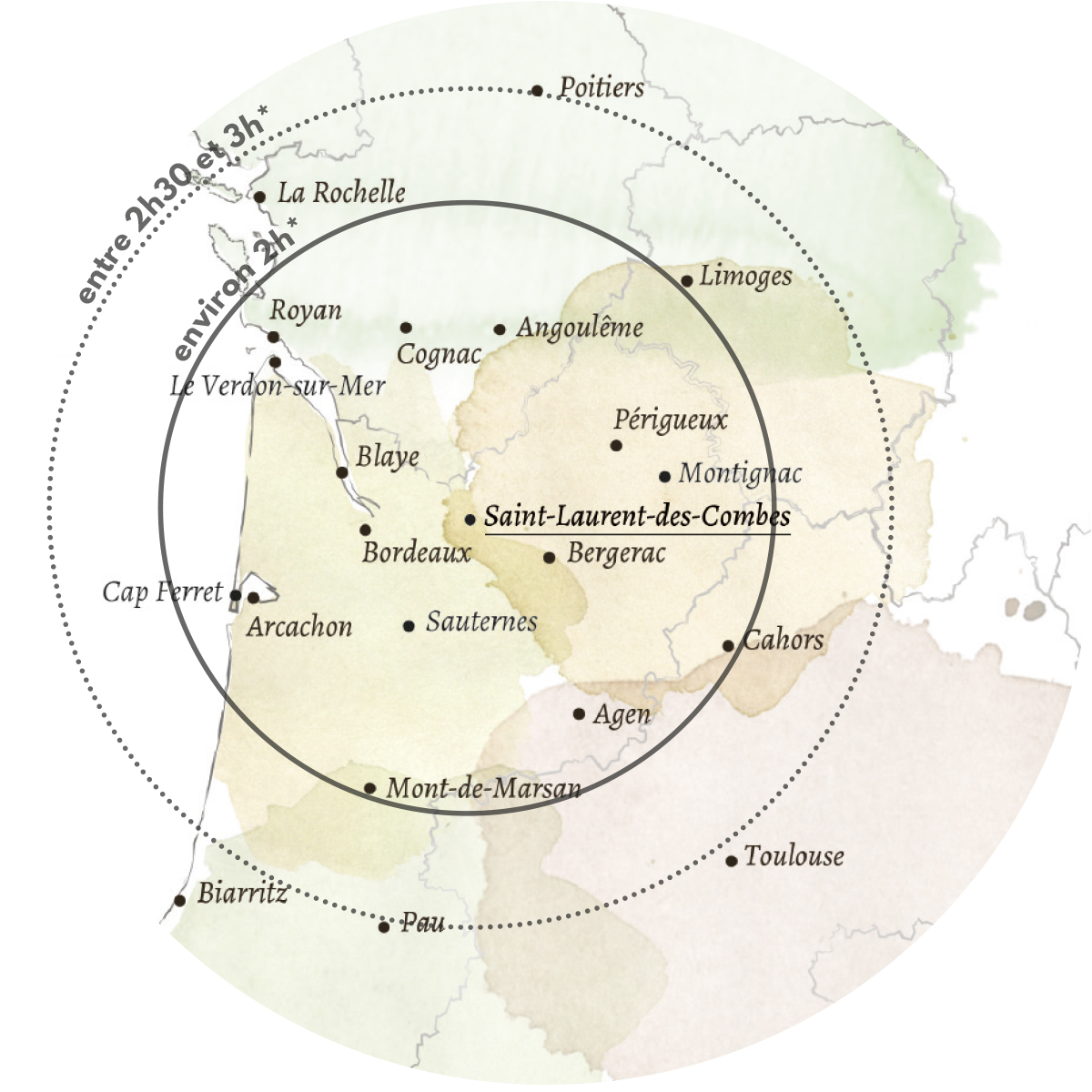 Carte géopgraphique Saint Laurent des Combes St Emilion